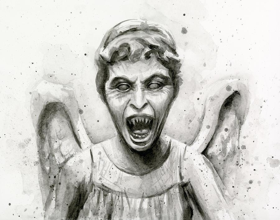 Weeping Painting - Weeping Angel Watercolor - Dont Blink by Olga Shvartsur