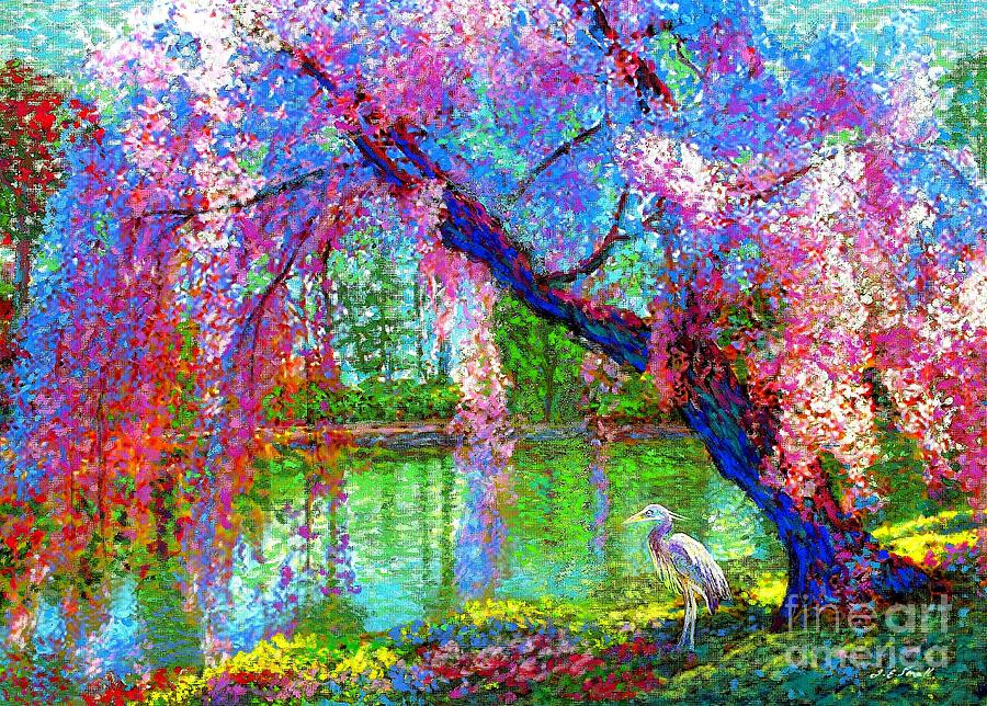 Spring Painting - Weeping Beauty, Cherry Blossom Tree and Heron by Jane Small