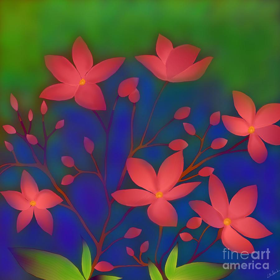 Jatropha Flowers Digital Art - Weeping Jatrophas by Latha Gokuldas Panicker