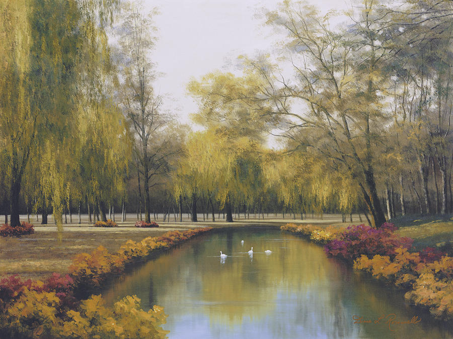 Autumn Painting - Weeping Willow by Diane Romanello