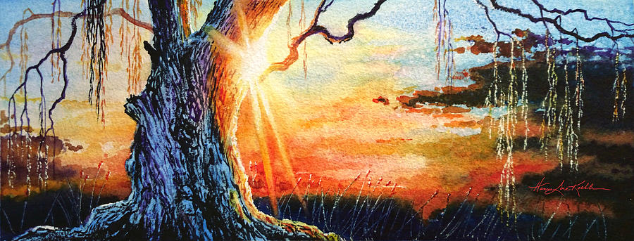 Weeping Willow Sunset Painting by Hanne Lore Koehler