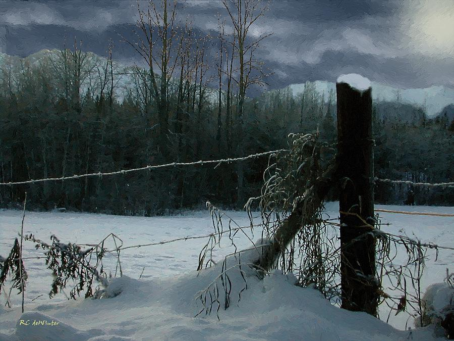 Landscape Painting - Weeping Winter Moon by RC deWinter