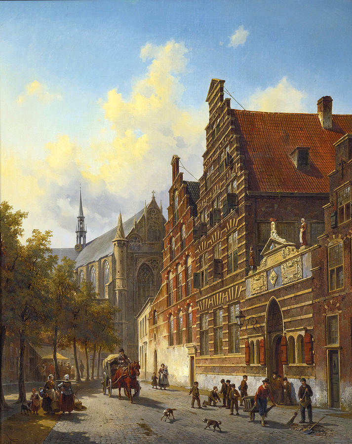 Canvas Prints Painting - Weeshuis In Leiden by Jacques Carabain