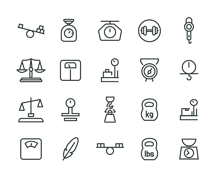 Weight Icon Set Drawing by Enis Aksoy