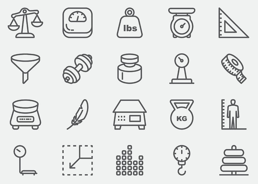 Weights And Scales Line Icons | Eps 10 Drawing by LueratSatichob