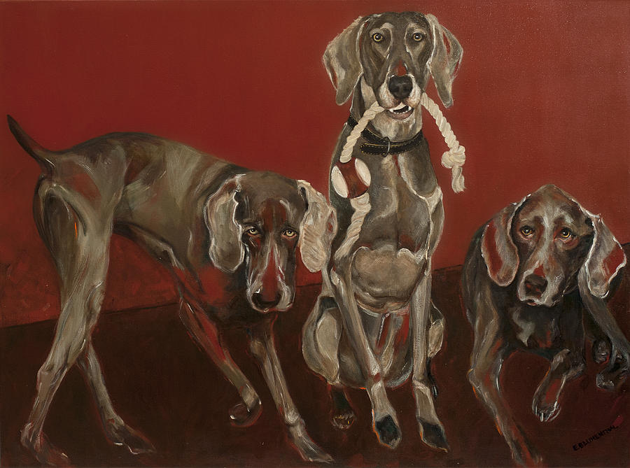Weimaraners X 3 Painting by Ellin Blumenthal