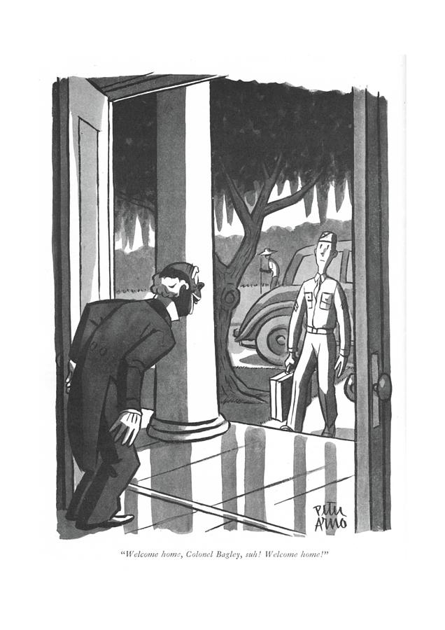 Welcome Home Drawing by Peter Arno