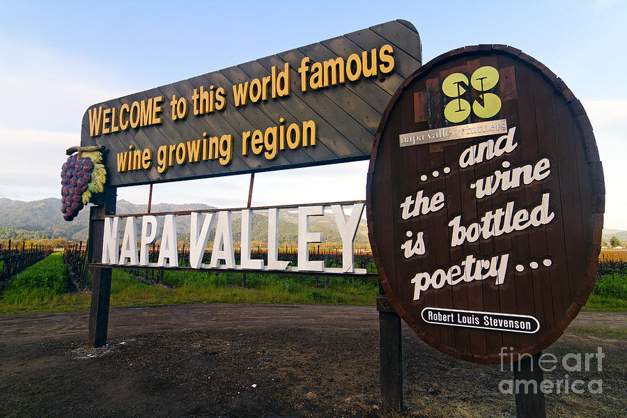 Agriculture Photograph - Welcome Sign To Napa Valley by George Oze