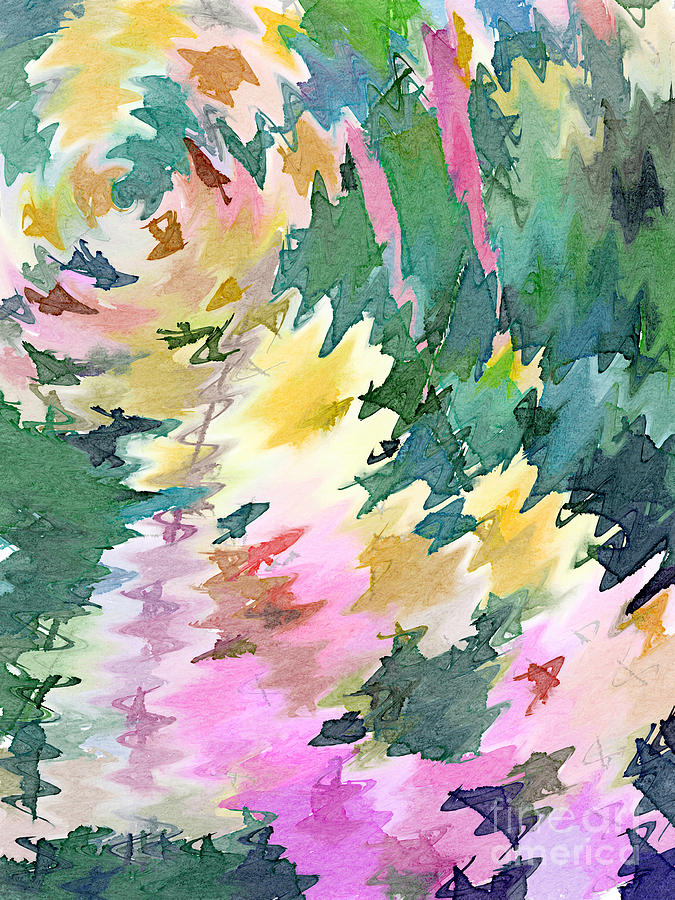 Welcome Spring Abstract Floral Digital Watercolor Painting 4