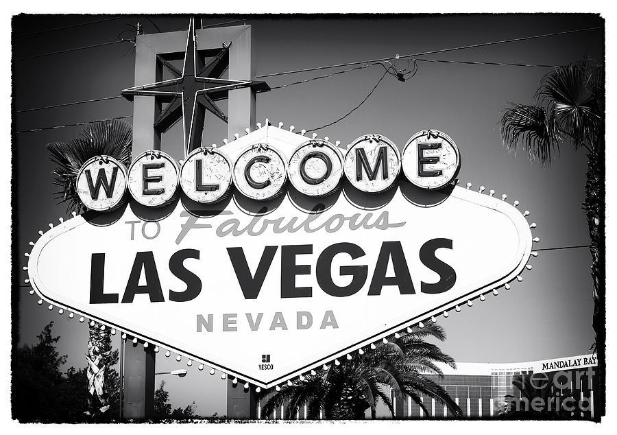 Welcome To Las Vegas Photograph - Welcome To Las Vegas Noir by John Rizzuto