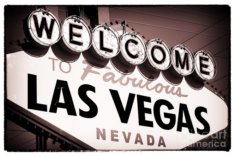 Welcome To Las Vegas Photograph - Welcome To Las Vegas Red Tone by John Rizzuto