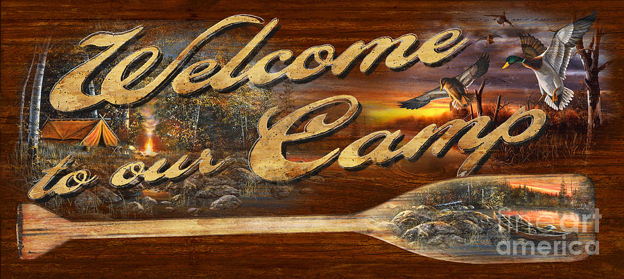 Canoe Painting - Welcome to our Camp Sign by JQ Licensing