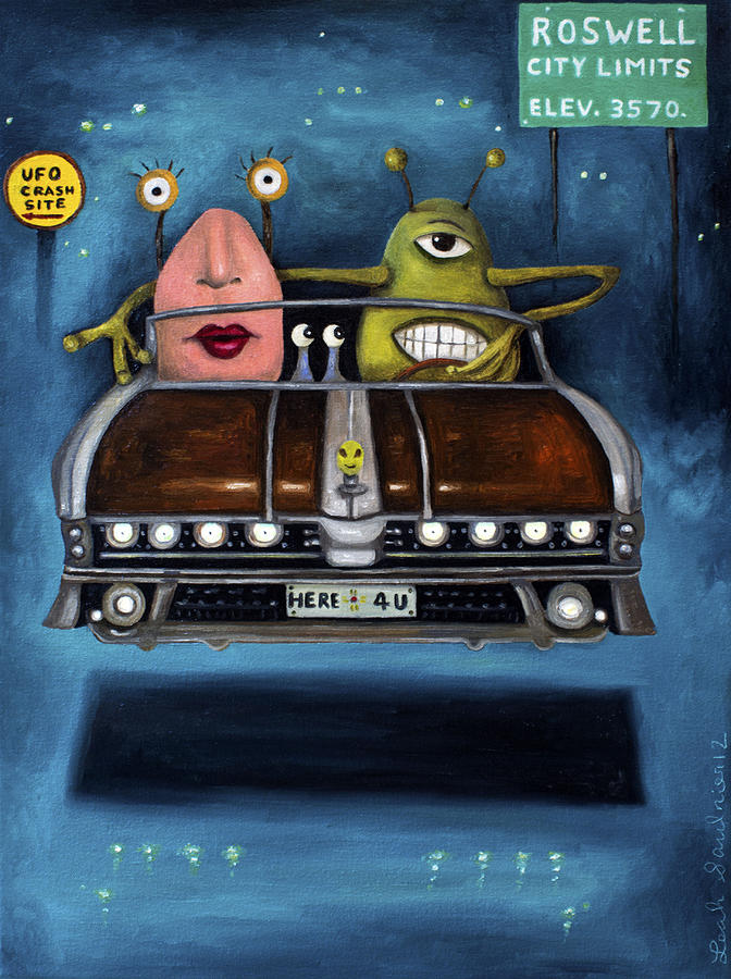 Roswell Painting - Welcome To Roswell by Leah Saulnier The Painting Maniac