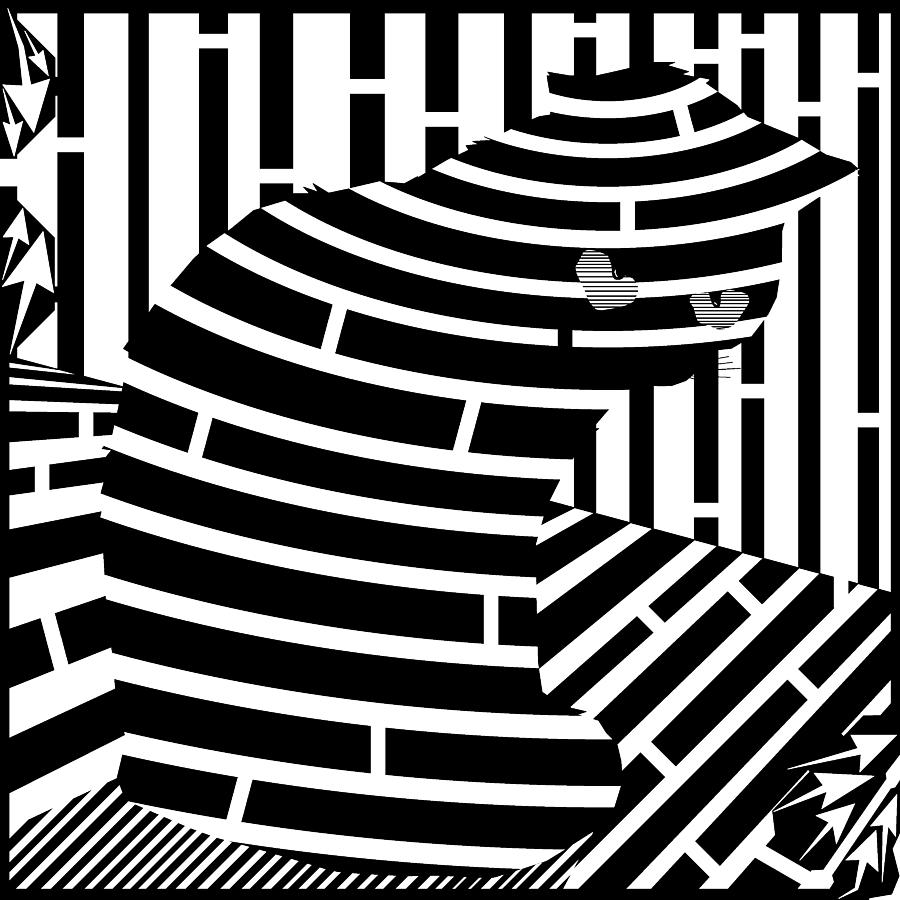Maze Drawing - Welcome To The Cat Side Maze by Yonatan Frimer Maze Artist
