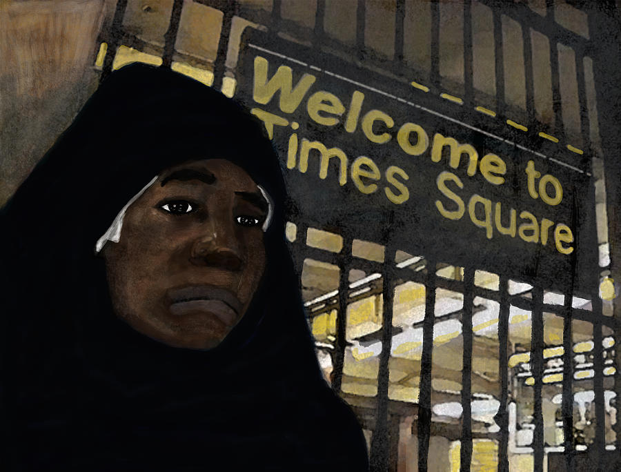 Muslim Painting - Welcome To Times Square by Adam Metzner