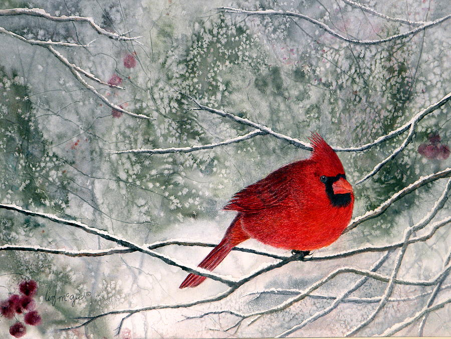 Cardinal Painting - Welcomed Guest by Lizbeth McGee