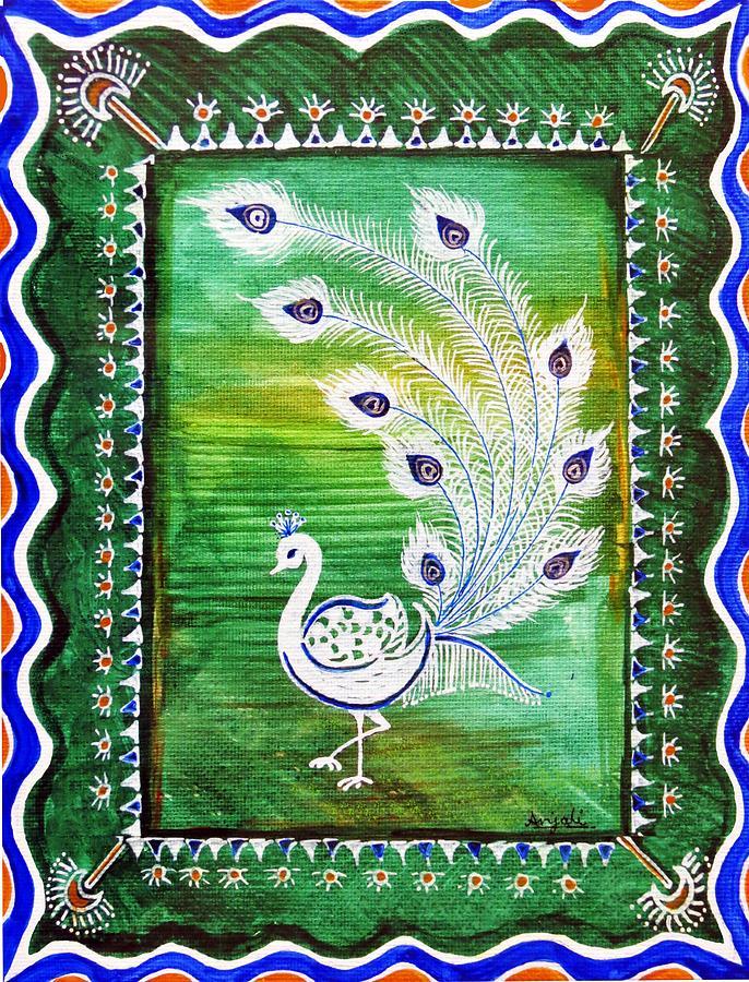 Green Peacock Painting - Welcoming Rain by Anjali Vaidya