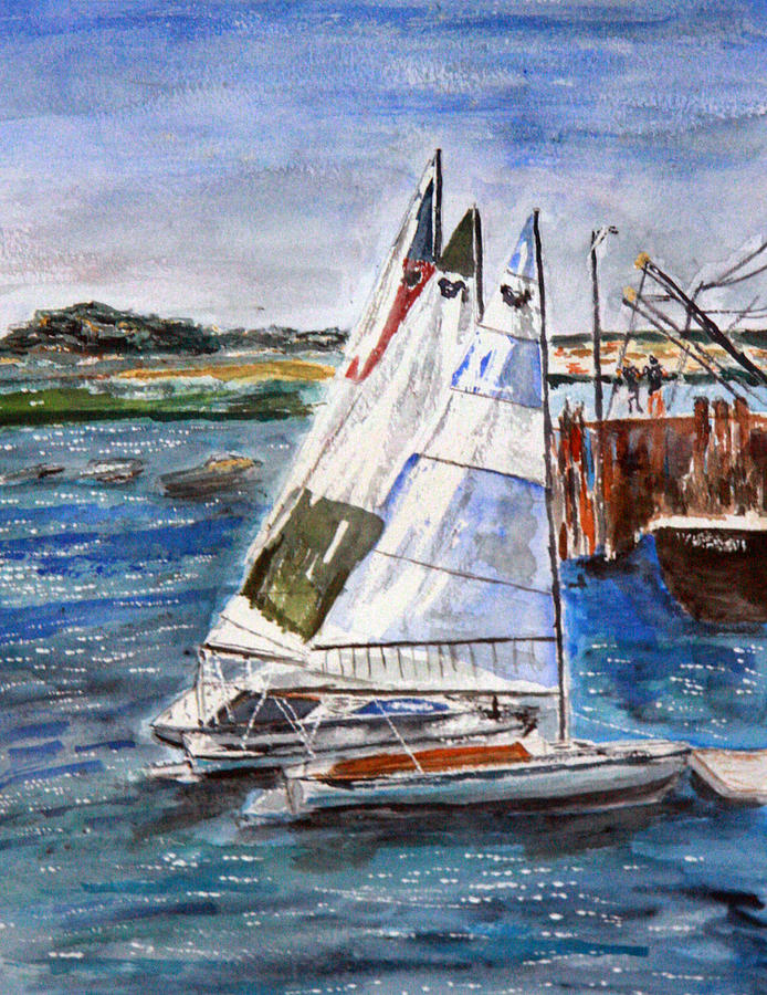 Seascape Painting - Welfleet Harbor Sails by Michael Helfen