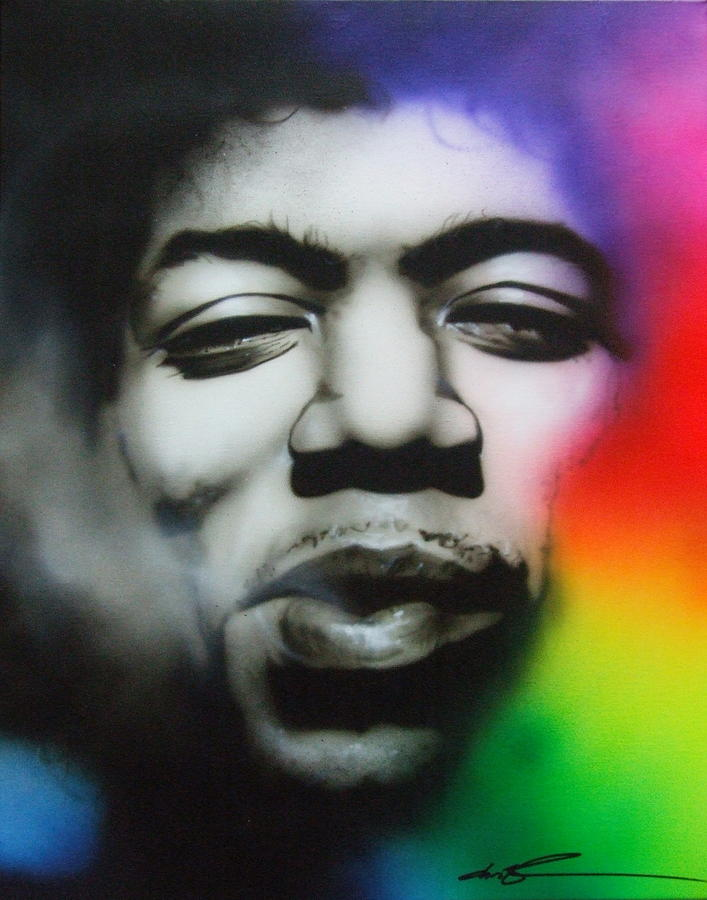 Jimi Hendrix Painting - Well I Stand Up Next to a Mountain by Christian Chapman Art