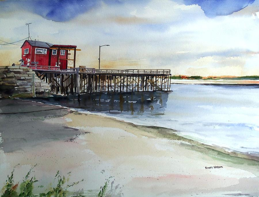 Me. Painting - Wells Harbor Dock by Scott Nelson