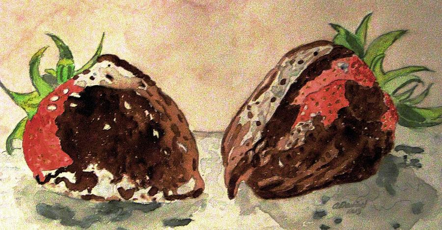 Strawberries Painting - Were Great Together Valentine by Angela Davies