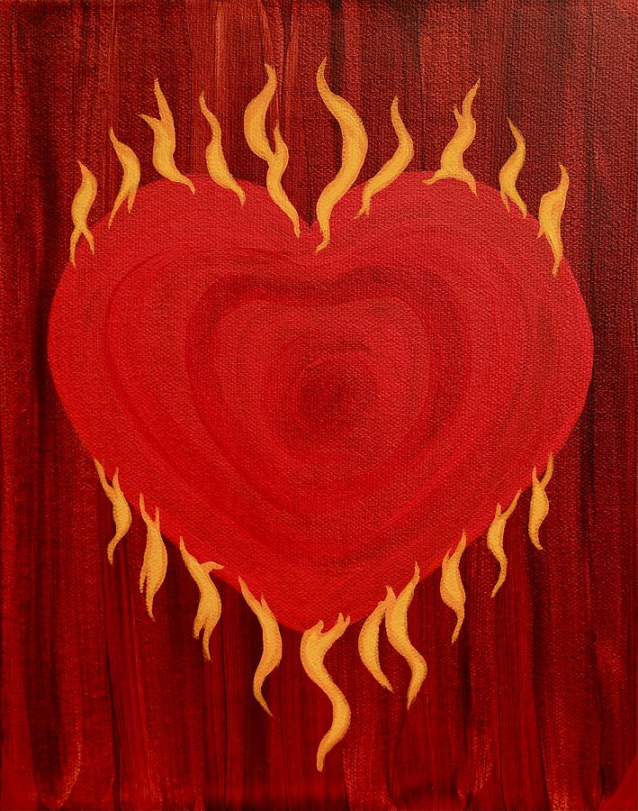 Heart Painting - Were Not Our Hearts Burning Within Us by Michele Myers