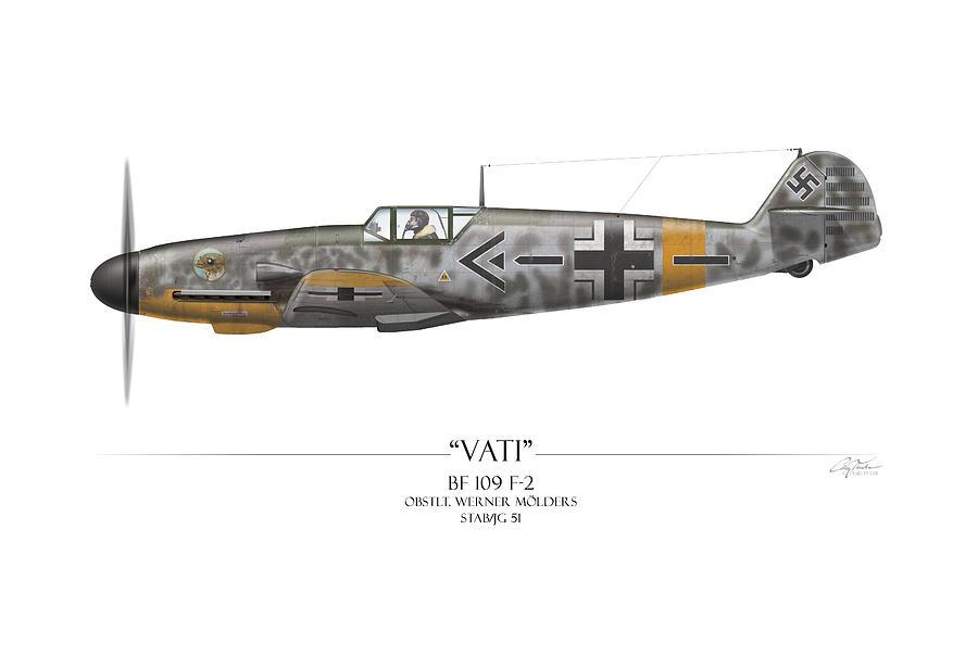 Aviation Painting - Werner Molders Messerschmitt Bf-109 - White Background by Craig Tinder