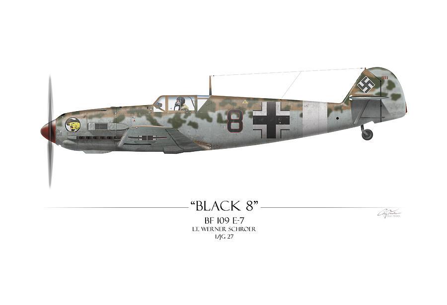 Aviation Painting - Werner Schroer Messerschmitt Bf-109 - White Background by Craig Tinder