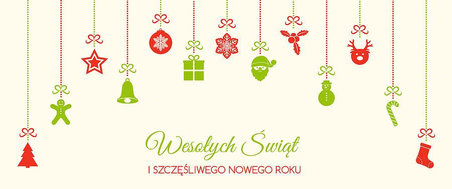Merry Christmas In Polish.Wesolych Swiat Merry Christmas In Polish Christmas Decoration Vector By Karolina Madej