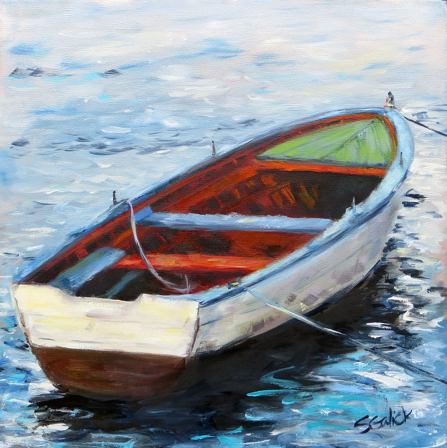 West Coast Row Boat Painting by Susan Galick