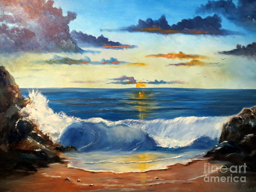Seascape Painting - West Coast Sunset by Lee Piper