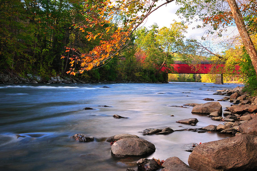 West Cornwall Photograph - West Cornwall Covered Bridge- Autumn  by Thomas Schoeller