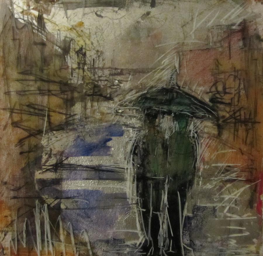 Glass Mixed Media - West End Rain by Debbie Clarke