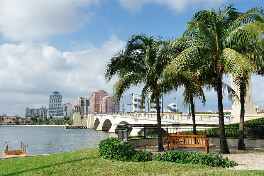West Palm Beach Cityscape Viewed Across Intracoastal Waterway Photograph by NoDerog