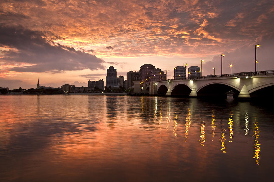 Boats Photograph - West Palm Beach Skyline At Sunset by Debra and Dave Vanderlaan