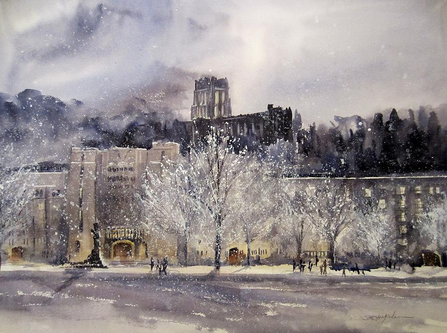 West Point Painting - West Point Winter by Sandra Strohschein
