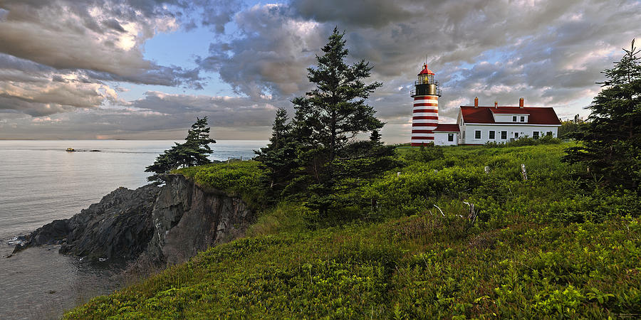 Lighthouse Photograph - West Quoddy Head Lighthouse Panorama by Marty Saccone