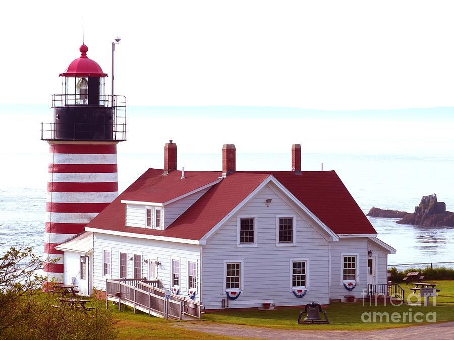 West Quoddy Head Lighthouse Tower and House by Christine Stack