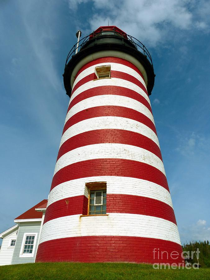 West Quoddy Head Photograph - West Quoddy Head Lighthouse Tower by Christine Stack
