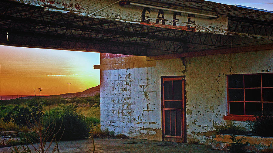 Sunset Photograph - West Texas Cafe by Brian Kerls