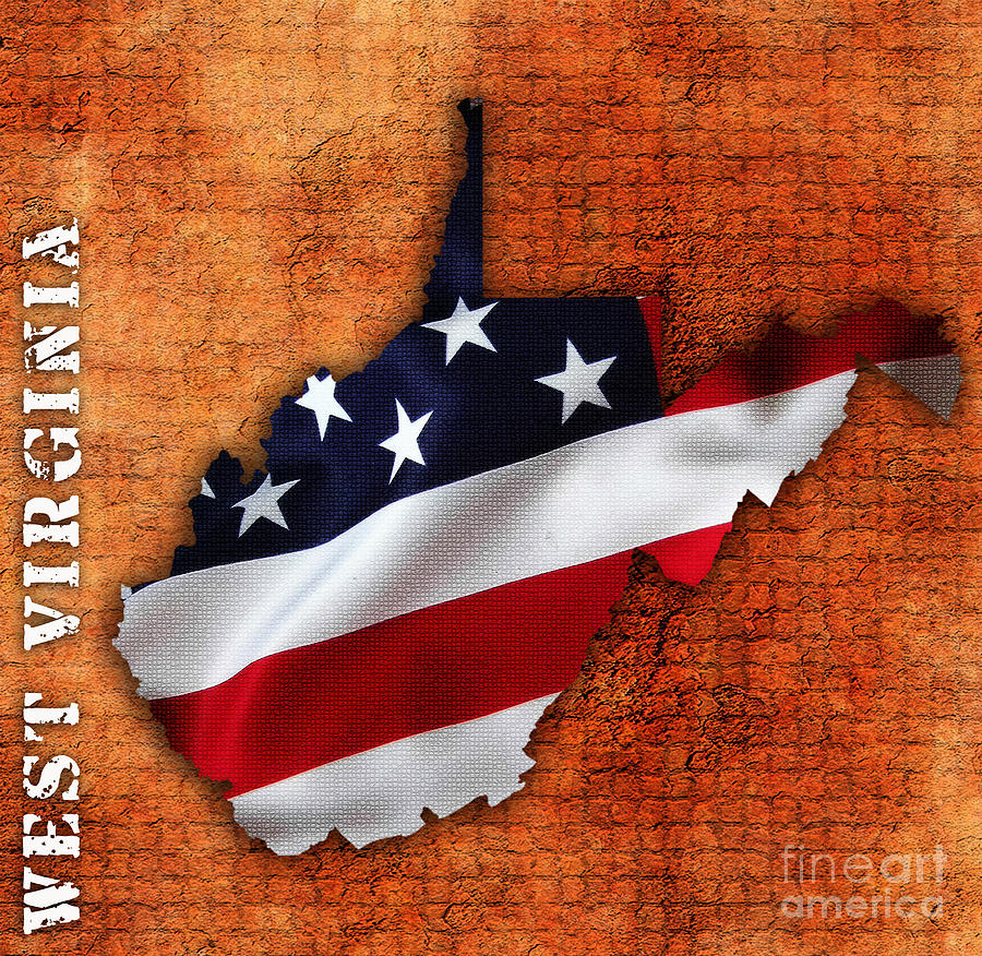 Usa Mixed Media West Virginia American Flag State Map By Marvin Blaine