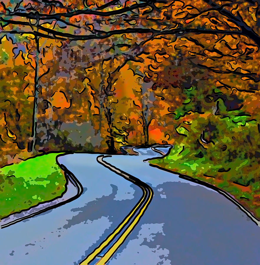 West Virginia Photograph - West Virginia Curves 2 Line Art by Steve Harrington