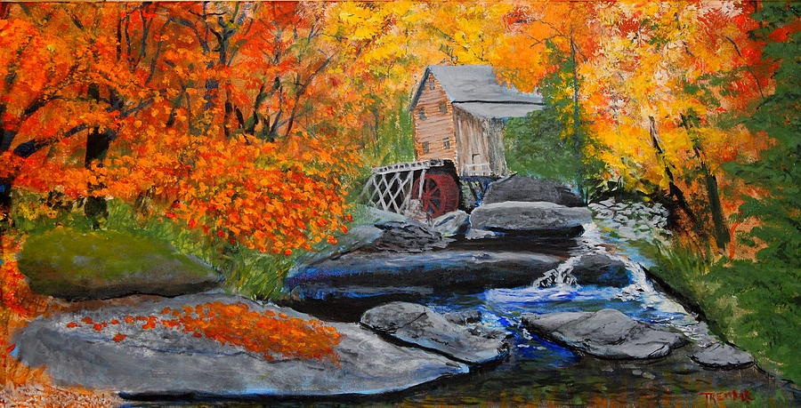 Landscape Painting - West Virginia Grist Mill by William Tremble