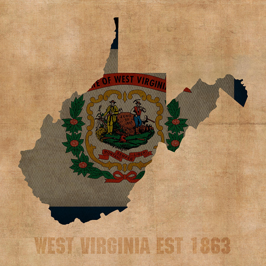 West Virginia State Flag Map Outline With Founding Date On Worn