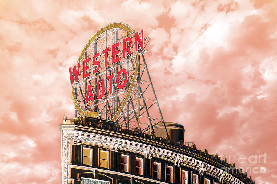 Western Auto Sign Downtown Kansas City In Pink Photograph By