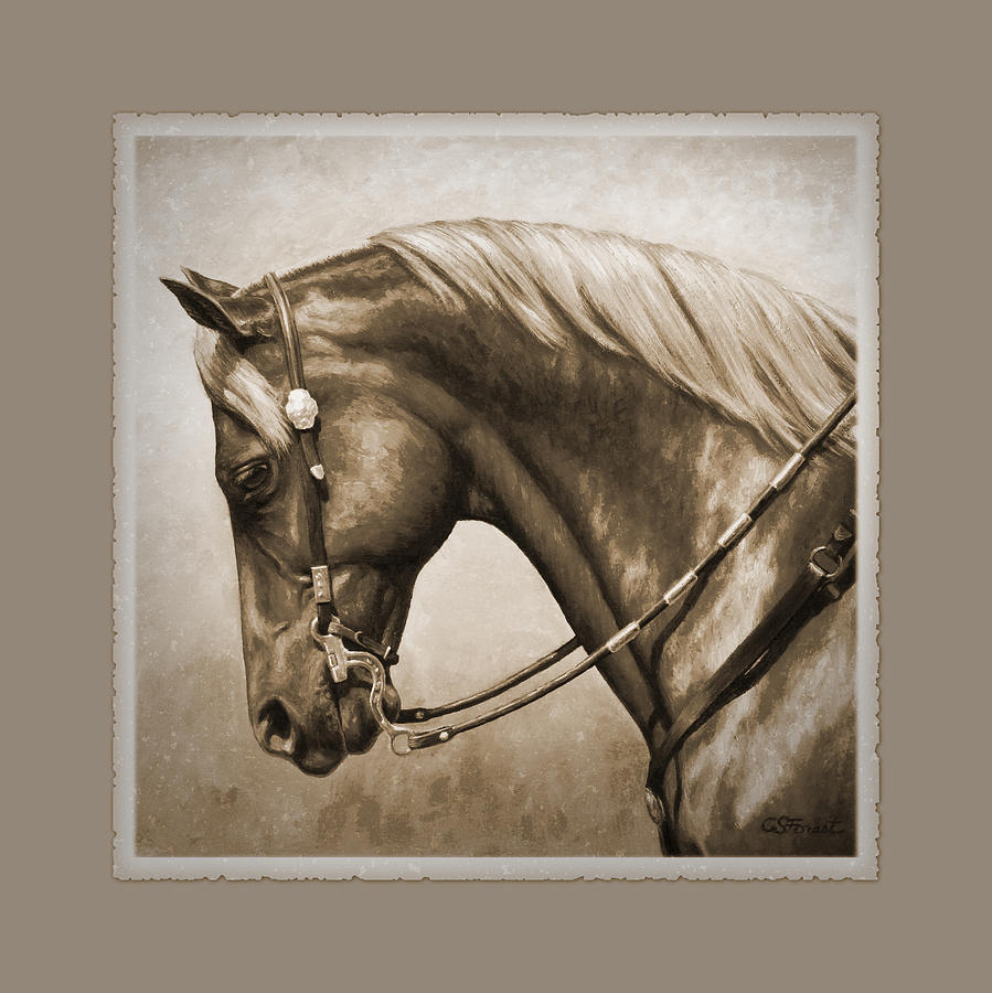 Horse Painting - Western Horse Aged Photo Fx Sepia Pillow by Crista Forest