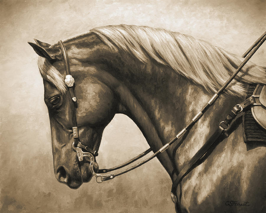 Western Horse Painting In Sepia Painting