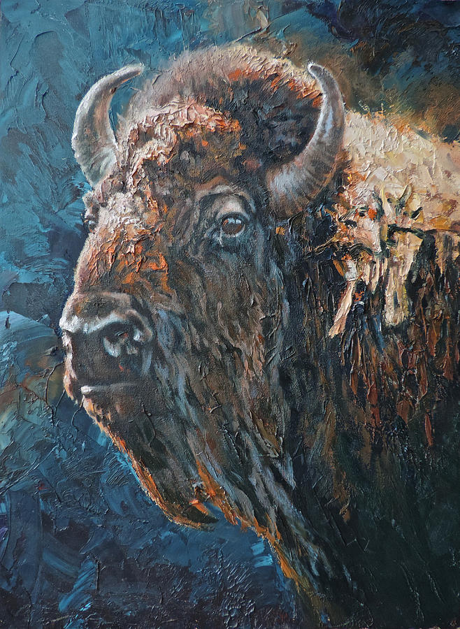 Bison Painting - Western Icon by Mia DeLode
