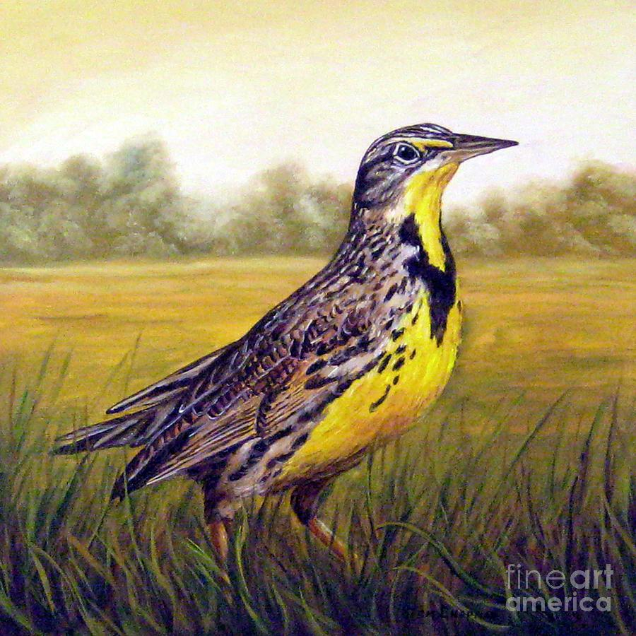 Western Meadowlark Afternoon Painting by Tom Chapman