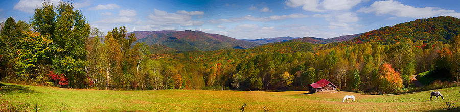 Great Smoky Mountains National Park Painting - Western North Carolina Horses And Mountains Panorama by John Haldane